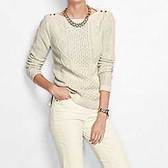 Lands' End - Cream women's lofty blend aran jumper
