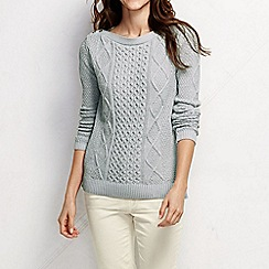 Lands' End - Grey women's lofty blend aran jumper