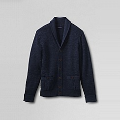Lands' End - Blue men's cotton slub rib shawl cardigan