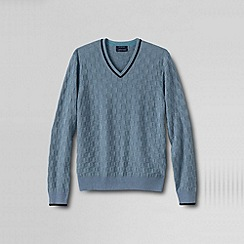 Lands' End - Blue men's fine gauge textured check v-neck jumper