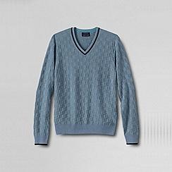 Lands' End - Blue men's fine gauge textured check v-neck jumper