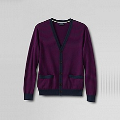 Lands' End - Purple men's classic fine gauge stripe supima® cardigan