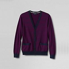 Lands' End - Purple men's classic fine gauge stripe supima® cardigan