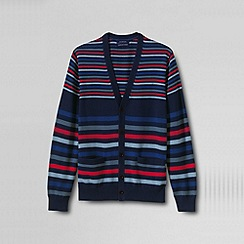 Lands' End - Blue men's classic fine gauge stripe supima® cardigan