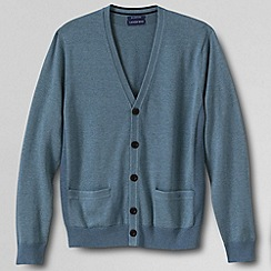 Lands' End - Blue men's fine gauge supima® v neck cardigan