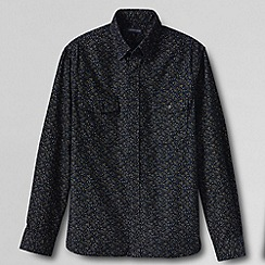Lands' End - Blue men's tailored printed cord shirt