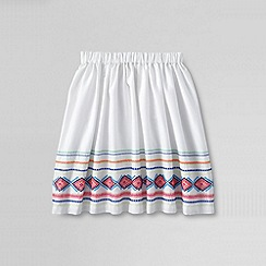 Lands' End - White girls' embroidered skirt