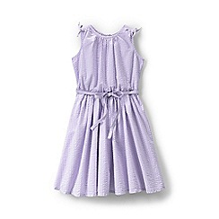 Lands' End - Purple girls' tie shoulder seersucker twirl dress