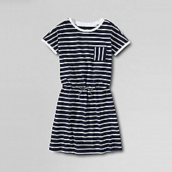 Lands' End - Blue little girls' short sleeve cinched waist dress