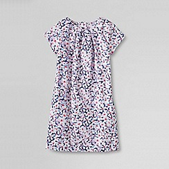 Lands' End - White little girls' short sleeve woven printed pique dress