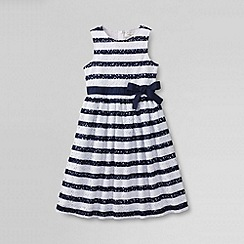 Lands' End - White little girls' sleeveless knit eyelet dress