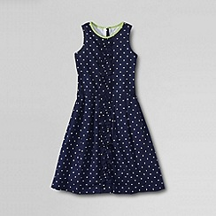 Lands' End - Blue girls' sleeveless ruffle front dress