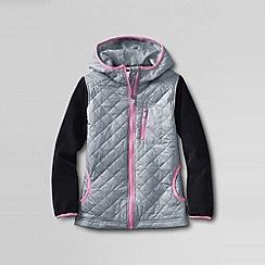 Lands' End - Grey little girls' fleece hybrid jacket