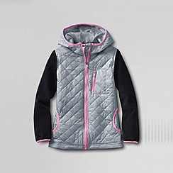 Lands' End - Grey girls' fleece hybrid jacket