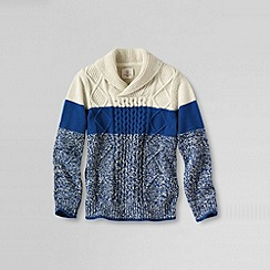 Lands' End - Blue boy's long sleeve shawl collar cable pullover