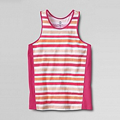 Lands' End - Pink girls' colour block pieced racerback tank top
