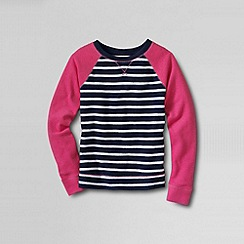 Lands' End - Blue girls' french terry sailor stripe sweatshirt