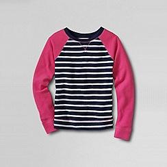 Lands' End - Blue girls' french terry sailor stripe sweatshirt