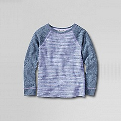 Lands' End - Multi girl's long sleeve french terry stripe sweatshirt