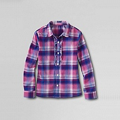 Lands' End - Multi girls' patterned woven ruffle front shirt