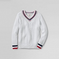 Lands' End - White little girls' v-neck cricket jumper