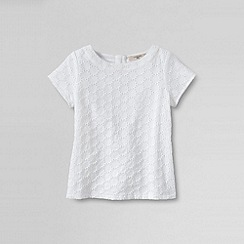 Lands' End - White little girls' short sleeve woven top