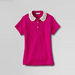 Lands' End - Pink girls' short sleeve lace collar polo shirt