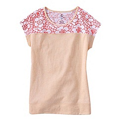 Lands' End - Orange girls' lace detail tee