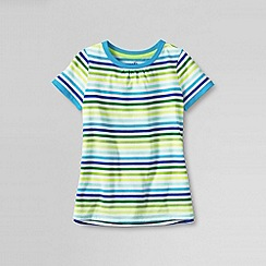 Lands' End - White little girls' short sleeve patterned sleeve tee