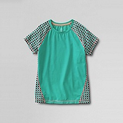 Lands' End - Green little girls' short sleeve performance tee