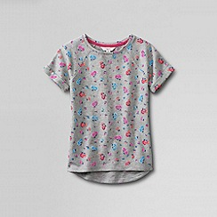 Lands' End - Grey girls' short sleeve french terry patterned sweatshirt