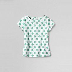 Lands' End - Green little girls' short sleeve printed pique woven top