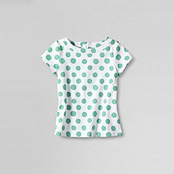 Lands' End - Green girls' short sleeve printed pique woven top