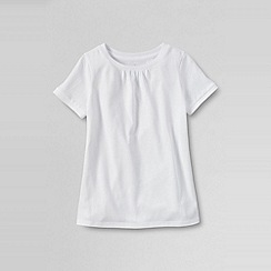Lands' End - White little girls' short sleeve plain tee