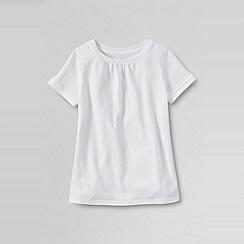 Lands' End - White girls' short sleeve plain tee