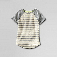 Lands' End - Grey girls' short sleeve textured mixed print french terry sweatshirt