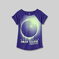 Lands' End - Purple little girls' uneven hem graphic tee