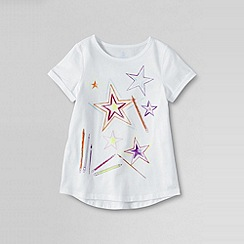 Lands' End - White little girls' short sleeve curved hem spring graphic tee