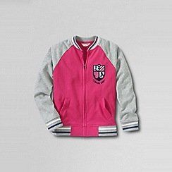 Lands' End - Pink girls' french terry varsity jacket