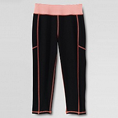Lands' End - Black little girls' performance crop leggings