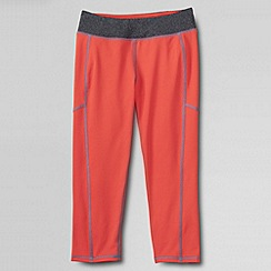 Lands' End - Orange little girls' performance crop leggings