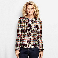 Lands' End - Multi women's regular long sleeve tartan fringed jacket