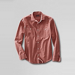Lands' End - Red men's tailored fit shipyard chambray shirt