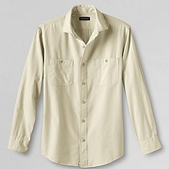Lands' End - Beige men's tailored fit shipyard chambray shirt