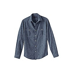 Lands' End - Blue men's tailored fit shipyard chambray shirt