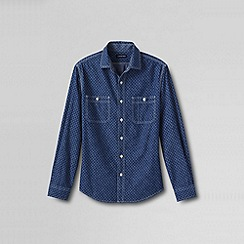Lands' End - Blue men's tailored fit shipyard chambray print shirt