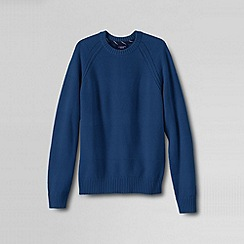 Lands' End - Blue men's drifter; texture stripe crew neck