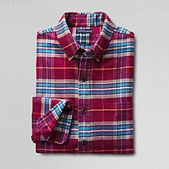 Lands' End - Red men's slim long sleeved brushed solid flannel shirt