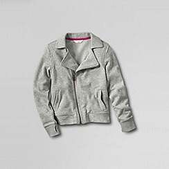 Lands' End - Grey girls' french terry biker-style jacket