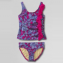 Lands' End - Pink girls' bohemian beach cascading ruffle tankini set